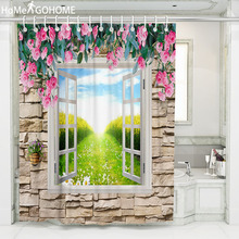 Stone Wall 3D Flowers Bath Curtains Waterproof Fabric Bathroom Shower Curtain Screen Scenic Shower Curtain Outside Window Decor все цены