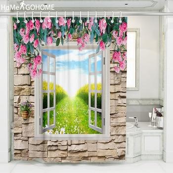 Stone Wall 3D Flowers Bath Curtains Waterproof Fabric Bathroom Shower Curtain Screen Scenic Shower Curtain Outside Window Decor