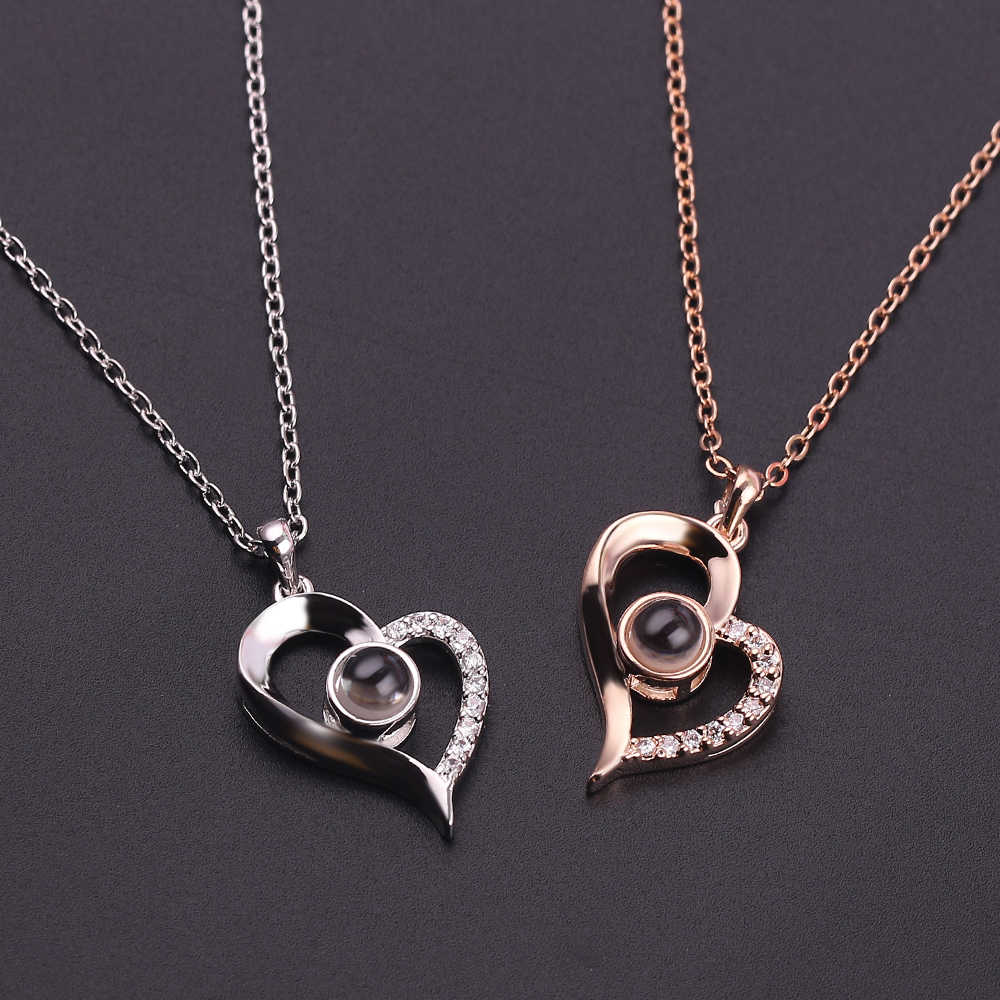 Chic I LOVE YOU 100 Languages Projection Pendant Necklace For Couple Heart shape