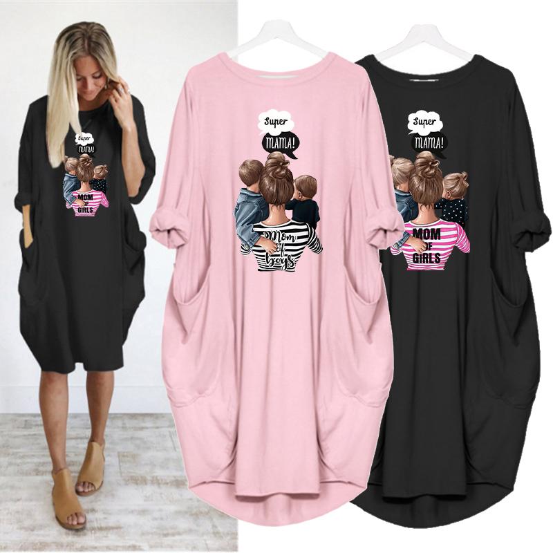 Plus Size Women's Midi Dress Long Sleeve Dresses Super Mama Print o Neck Loose Pocket Casual Vintage Vestidos Robe Femme Autumn