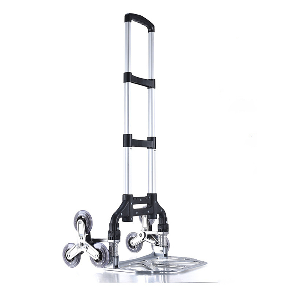 CN Folding Hand Truck Dolly Stair Climbing Cart Aluminum Alloy Portable with Shopping Bag Hand Cart Ideal for Home Auto Travel