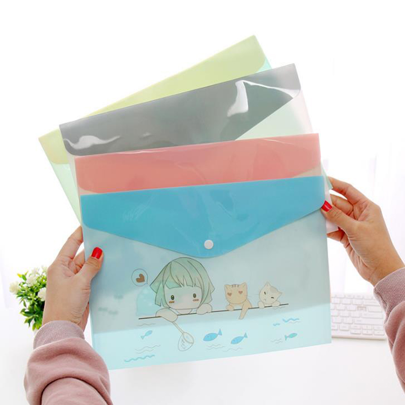 1 Pcs Cartoon A4 Animal Penguin Giraffe Pig Cat Girl PVC Document Bags Waterproof File Folder Students Organizer Stationery