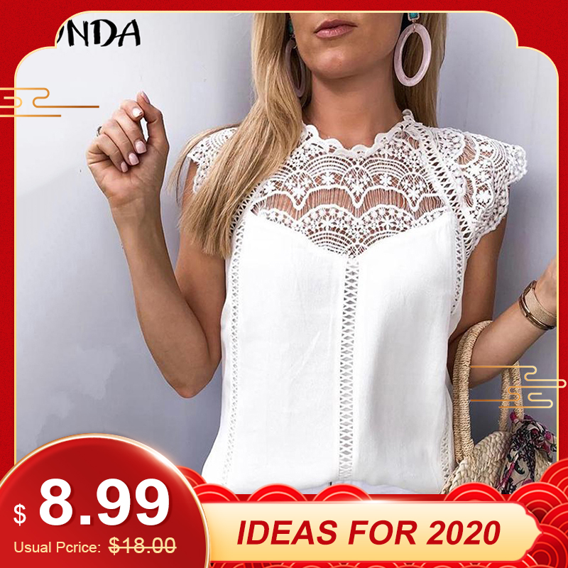VONDA 2019 Women Blouse Tunic Sexy Sleeveless Lace Shirt OL Office Ladies Shirt Hollow Party Tops Camisas White Blusas Plus Size