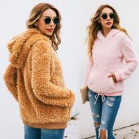 Women Autumn Winter Hooded Faux Fur Hoodies Shaggy Fluffy Pullover Casual Long Sleeve Drawstring Sweatshirt With Front Pocket