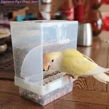 Tamanho pequeno pássaro aves domésticas alimentador automático acrílico recipiente de alimentos papagaio pombo respingo prova 10x12x7.5cm