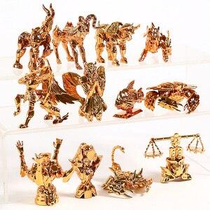 Image 4 - Saint Seiya figuras para escritorio del zodiaco dorado, Mini figuras para escritorio, juguetes Brinquedo, 12 unidades