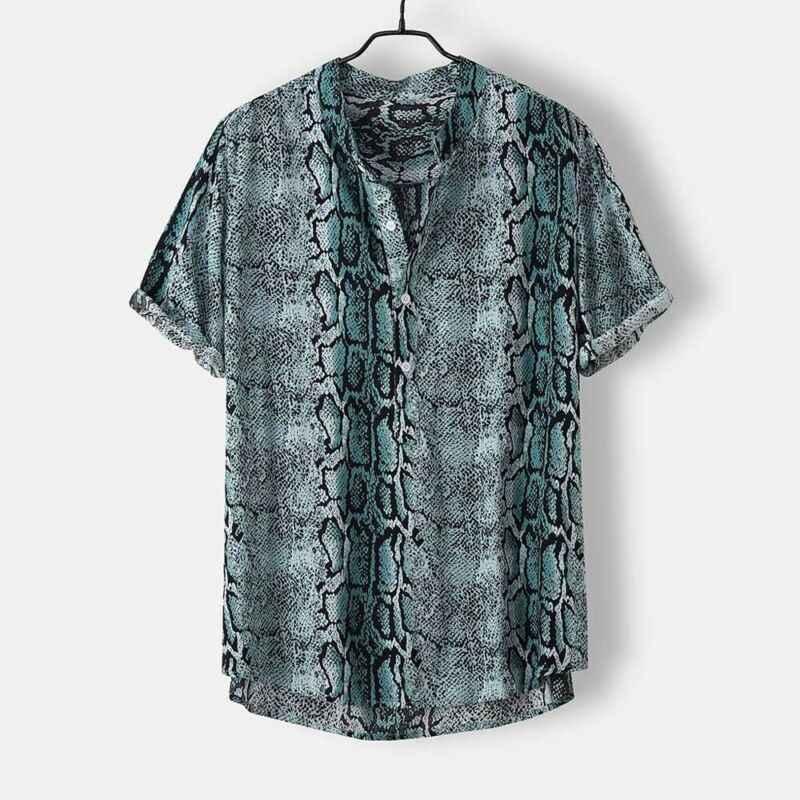 2019 été hommes chemises décontractées à manches courtes motif serpent lâche chemises hommes mâle peau de serpent imprimé dessus de chemise