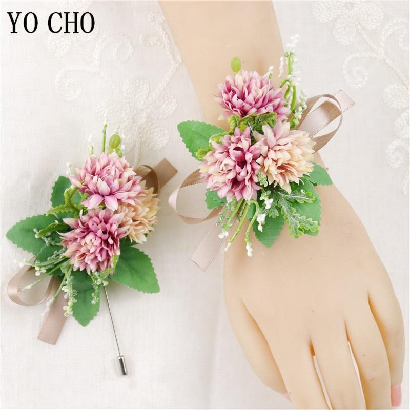 YO CHO Wedding Boutonnieres Groomsmen Silk Flower Girl Wrist Corsage Pompon Bracelet Wedding Prom Bridesmaids Wristband Brooch