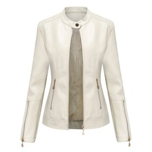 Jacket Spring Women New Thin Fashion PU Zipper Collar Slim-Stand Solid-Color