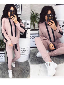 Tracksuit Hoodies Sportswear Tight Two-Piece-Set Running Casual New for Women