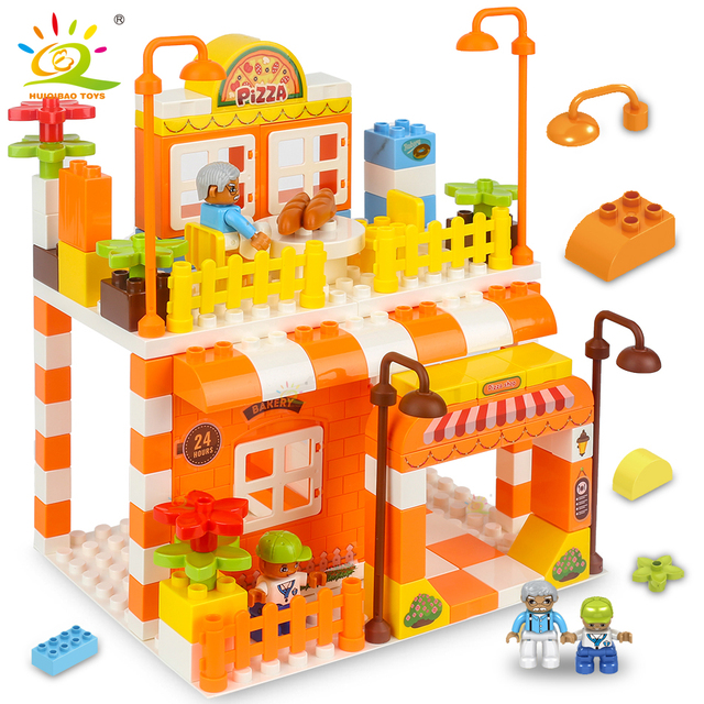 HUIQIBAO 122pcs Pizza Store Big Building Blocks set Duploed Size city street view shop Bricks Educational Toys For Children gift