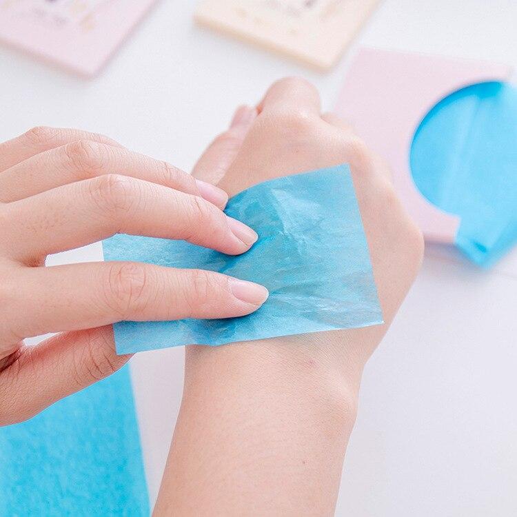 50 листов/упаковка льняная впитывающая масло бумага для мужчин и женщин для лица масляная синяя пленка для макияжа впитывающая масло для