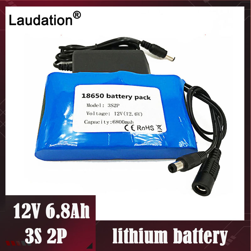 laudation <font><b>3s</b></font> bms 12v <font><b>Battery</b></font> <font><b>pack</b></font> Portable Super Rechargeable 12 volt Li-ion <font><b>Battery</b></font> DC12.6V 6800mAh CCTV/Cam Monitor+1A charger image