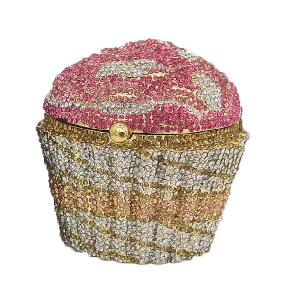 Boutique De FGG Women Mini Cupcake Clutch Evening Bag Crystal Wedding Purse And Handbag Bridal Party Diamond Minaudiere Bag