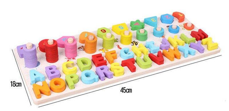 3d de madeira montessori aritmética ensino aids