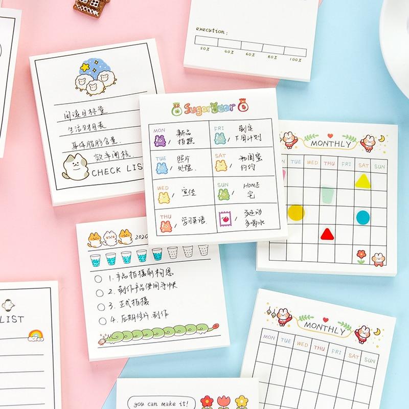 30 страниц блокноты для записей счастливой жизни кошки Еженедельный ежемесячный планировщик липкий блокнот канцелярские принадлежности