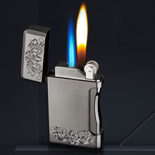 New Jet Gas Lighter Grinding Torch Turbo Flint Lighter Powerful Two Flame Model Butane Metal Windproof Cigarette Cigar Lighter classic retro style windproof zinc alloy butane jet lighter golden