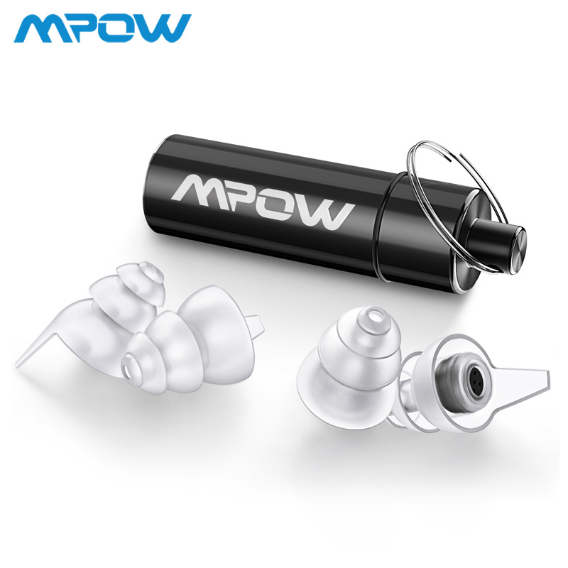 Mpow HP096 2Pairs High Fidelity Earplugs SNR 28dB/ NRR 24dB Noise Reduction Music Concert Ear Plugs With Carry Case For Festival