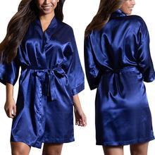 Women Satin Sleepwear Sexy Lingerie Plus Size Nightgown Robe Bathing Suit Smooth Touch Nightdress With Belt Pyjama femme  9.26