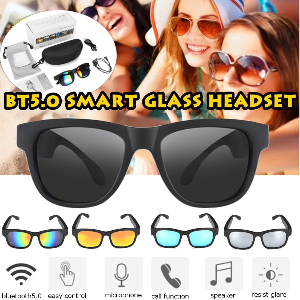 3IN1 V 5.0 bluetooth Smart Sports Headphone Sunglasses Wireless Stereo Audio Sunglasses IPX7 Headset Earphone Speakers with mic