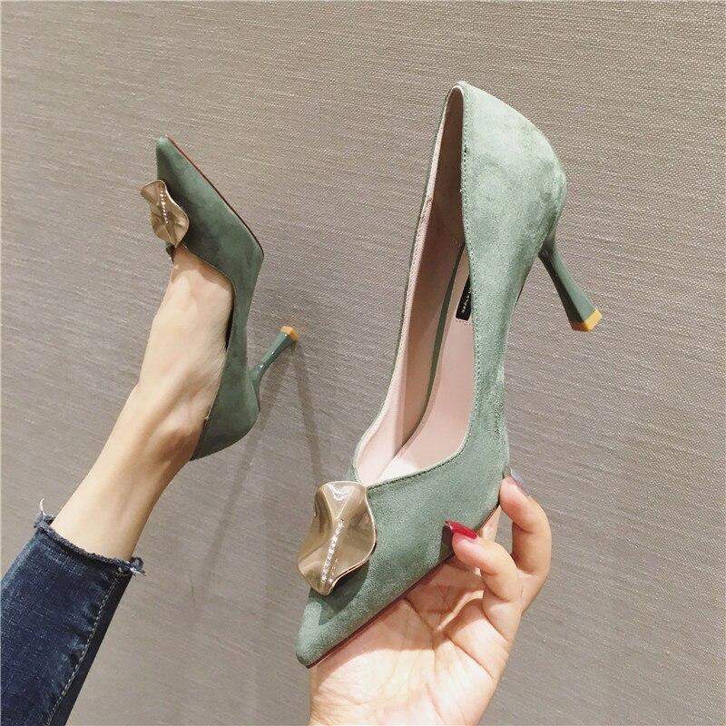 LIMEIKE metal Ornaments brand high heels office ladies shoes women high heel shoes spring thin heels women heels women shoes