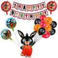 Кролика Фольга воздушные шары с рисунками зверей из мультфильмов красные, черные латексные шары баннер на день рождения с флагом детский пр...