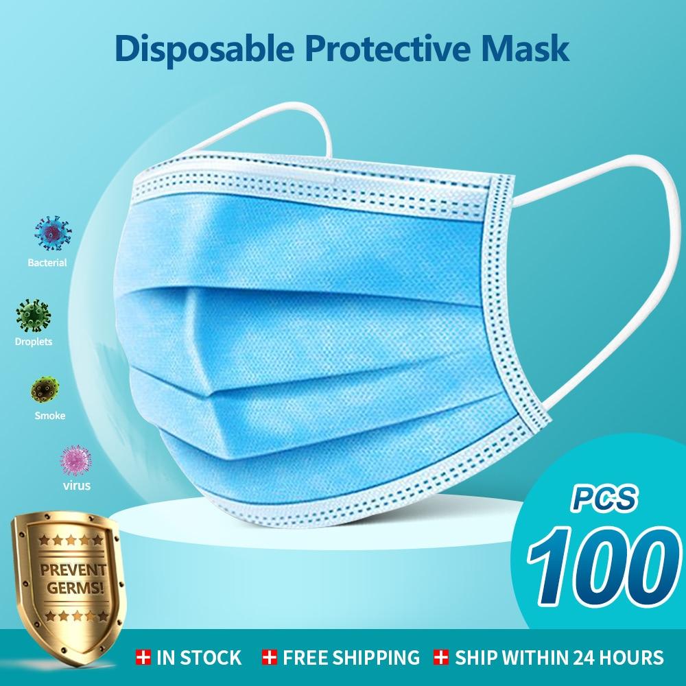 50/100 Pcs Mouth Masks 3-layer Anti-Dust Disposable Mascarillas Non Woven Meltblown Cloth Masks Elastic Ear Loop Face Mask