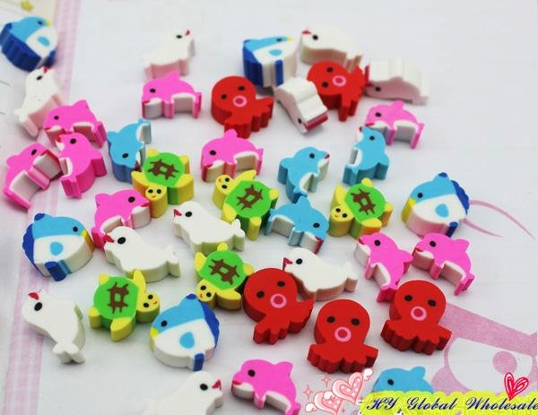 40pcs/set  Marine Animal Eraser With Gift Box Mini Fish Eraser Student Learning Office Stationery