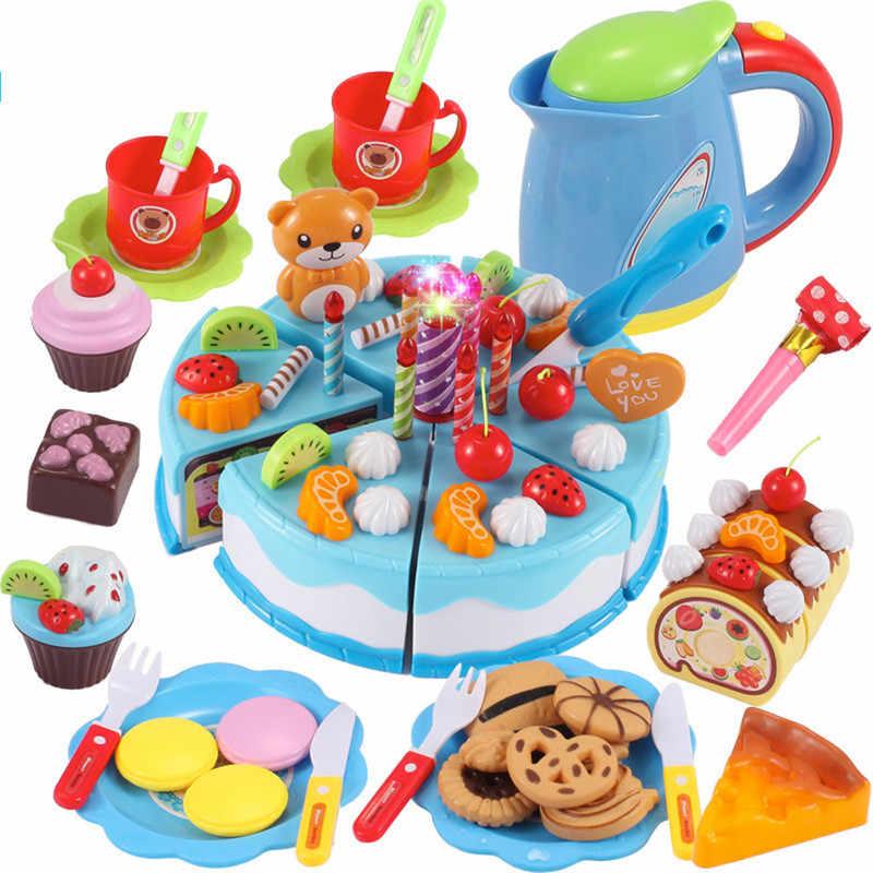 Strange 55 80Pcs Diy Pretend Play Fruit Cutting Birthday Cake Kitchen Food Personalised Birthday Cards Paralily Jamesorg
