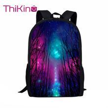 Thikin Galaxy Pattern Students School Bag for Boys Teenagers Backpack Travel Package Shopping Shoulder Women Mochila