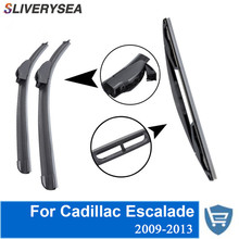 SLIVERYSEA Front and Rear Wiper Blade no Arm For Cadillac Escalade 2009-2013 High quality Natural Rubber windscreen 22''+22''
