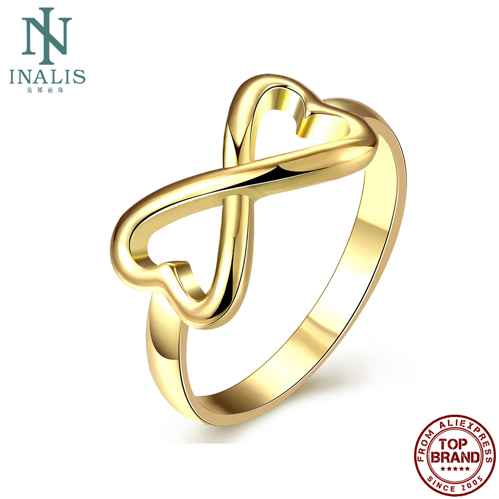 INALIS Hollow Heart Shape Simple Gold Plated Romantic Rings For Women Girl Ring Anniversary Fashion Jewelry Recommend On Sale