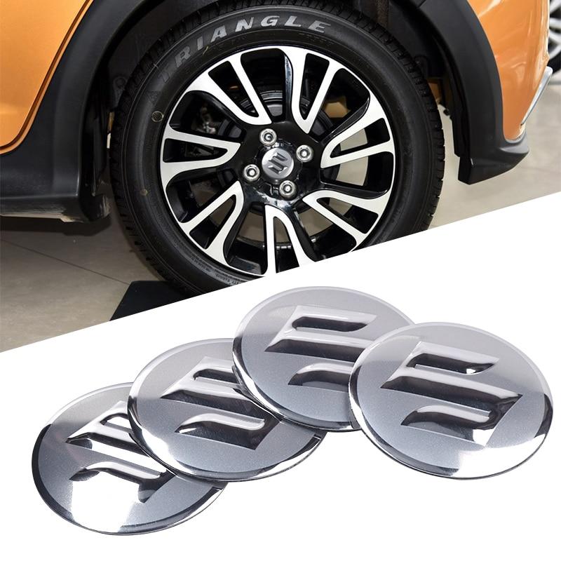 For Suzuki Swift SX4 Jimny Ignis Alto Samurai Baleno Grand Vitara 4Pcs Car Styling Aluminum Tire Center Hub Caps Stickers Badge