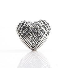 925 стерлингового серебра бисера новый простой плоской подошве в европейском стиле с «крыльями ангела» с позолоченным кольцом, соответствен...