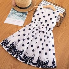 Vestido de lunares para niñas de 3 a 12 años, sin mangas, con lazo, ropa de princesa, verano, 2019