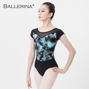 Image 5 - ballet dance leotard for women Practice adulto gymnastics mesh short sleeve printing leotard Ballerina 3546