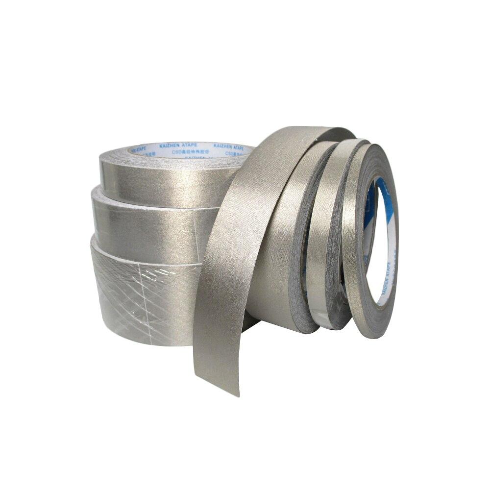 Двусторонняя проводящая лента, электромагнитная волна, защита от помех, защита от излучения, цвет серебристый/серый, 20 м