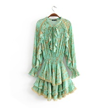 Vintage Chic Women Dress Floral Print Butterfly Sleeve Tassel Ruffles Beach Bohemian Mini Dresses Bow Neck Rayon Boho