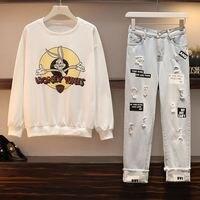 Модный осенне-зимний женский комплект с принтом из мультфильма, толстовка и джинсовые штаны с дырками, костюм для женщин, плюс размер, повсе...