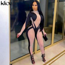 Kliou elástico impresión Bodycon mujer prendas mono de moda de manga larga ropa de calle de primavera 2021 monos de una pieza de ropa