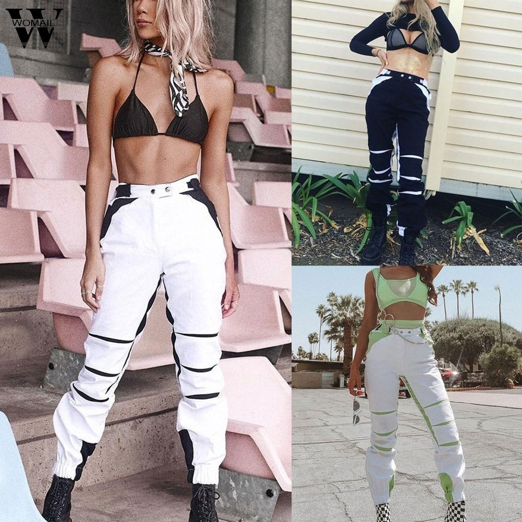 Womail Streetwear Cargo   Pants   Women Autumn Casual Joggers Black High Waist Loose Female Trousers Korean Ladies   Pants     Capri   103