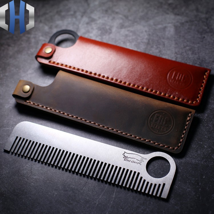 Titanium Alloy Tactical Comb Hairdressing Hairdressing Stainless Steel Combing With Leather Case EDC Equipment Tools