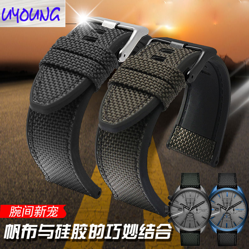 Nylon canvas +silicone watch band matching DS  DZ4500 DZ4506 DS4318 original paragraph 24 26 28mm watch strap|Watchbands| |  - title=