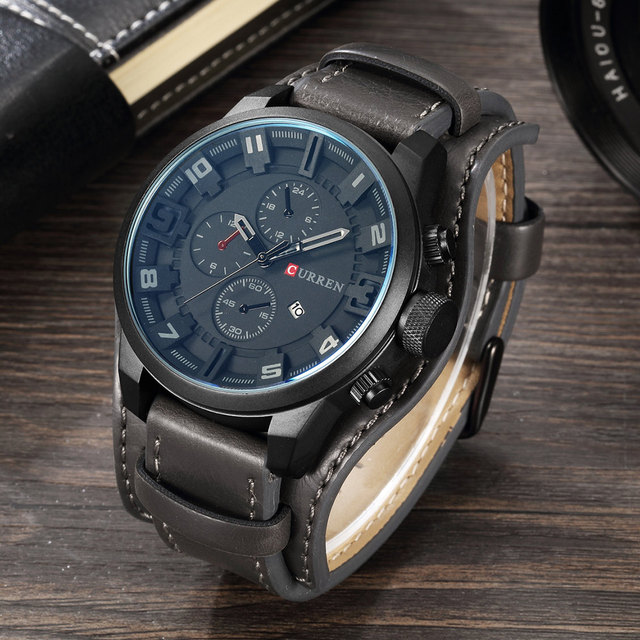 CURREN Leather Strap Quartz Business Men Wristwatch 3