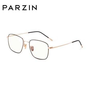 PARZIN Blue Light Blocking Glasses Women Men Alloy Eyeglasses Frame Computer Glasses Vintage Rectangle Ladies Eyeglasses 15762 фото