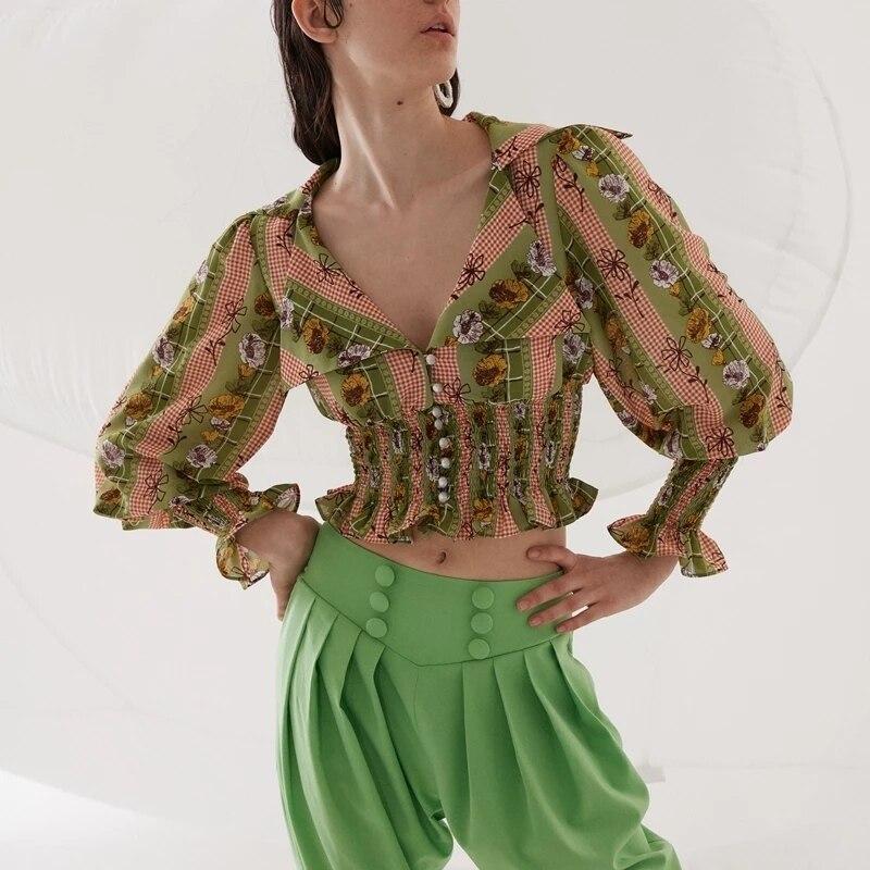 2019 mode nouveau Style Vintage imprimé femmes chemise col rabattu manches bouffantes Blouses femmes tunique volants Crop dames hauts