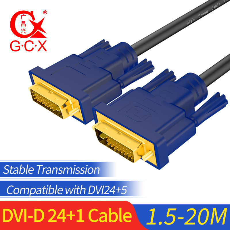 GCX 2K DVI Cable 24+1 Dual Link Male to Gold Plated DVI-D for TV Laptop Projector Monitor 1.5m 3m 5m 10m 15m 20m