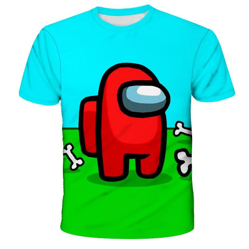 Летнее платье из смешная игра среди мы Топы От 2 до 14 лет супер Zings футболка Impostor Графический Топы И Футболки 3D рубашки с героями мультфильмов...