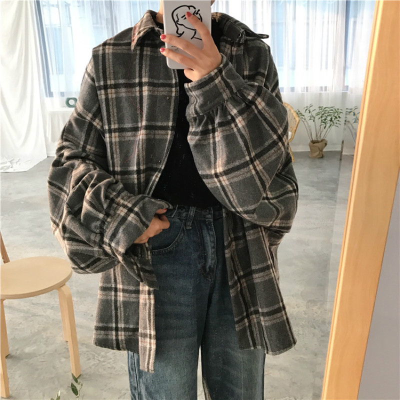 women autumn woolen plaid coat turn down collar long sleeve cardigan outwear plus size loose jacket single breasted