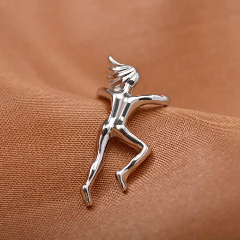 Kolczyki unisex ze wspinaczką w kształcie mężczyzny bez przekłuwania uszu złote srebrne klipsy nausznica